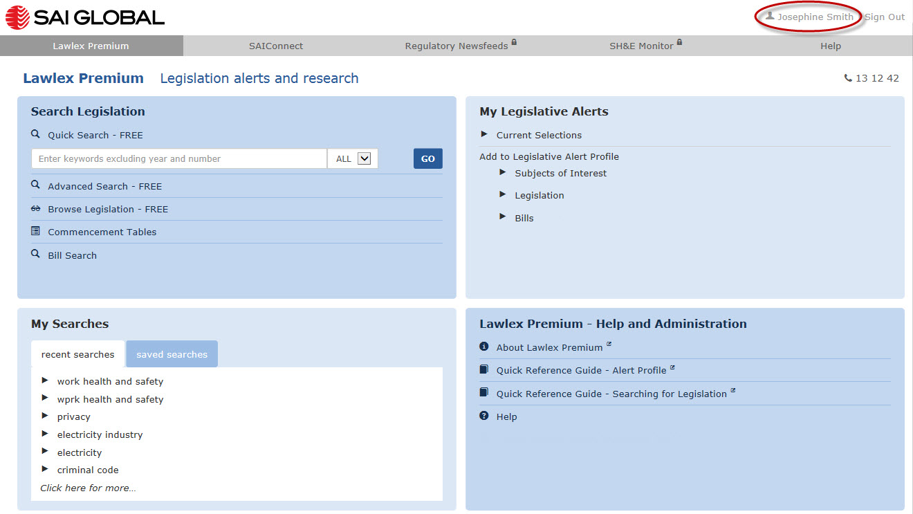 Image shows Lawlex homepage, highlighting the User's account link in the top right hand coner of the screen.