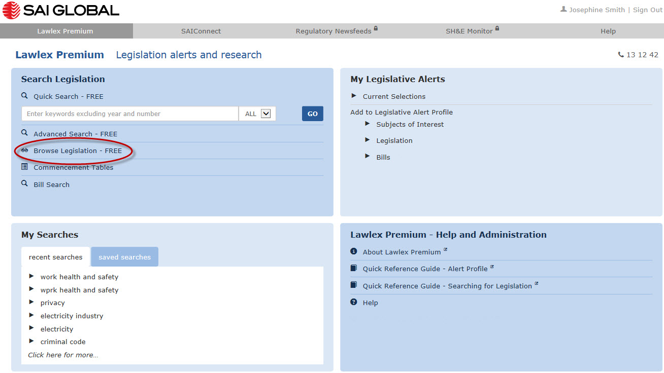 "Image shows the Lawlex Premium home page, highlighting the ""Browse Legislation"" link."