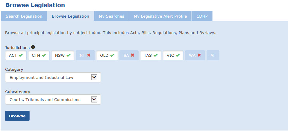 Image shows the Browse Legislation page selection panel.